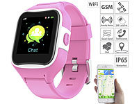 TrackerID Kinder-Smartwatch mit GPS-/GSM-/WiFi-Tracking, SOS-Taste, rosa, IP65; GPS-GSM-Tracker mit Apps & SOS-Funktionen GPS-GSM-Tracker mit Apps & SOS-Funktionen