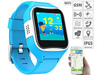 TrackerID Kinder-Smartwatch mit GPS-/GSM-/WiFi-Tracking, SOS-Taste, blau, IP65; GPS-GSM-Tracker mit Apps & SOS-Funktionen GPS-GSM-Tracker mit Apps & SOS-Funktionen